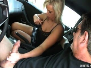 and blowjob handjob in the car mom