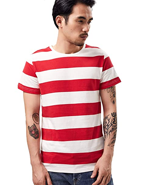 shirt red striped white mens